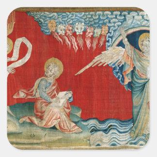 L'ange avec un livre ouvert sticker carré