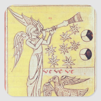 L'ange soufflant la trompette autocollants carrés