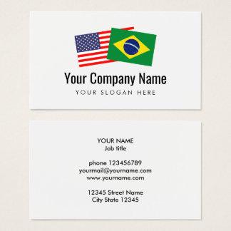 L'anglais américain portugais brésilien de cartes de visite