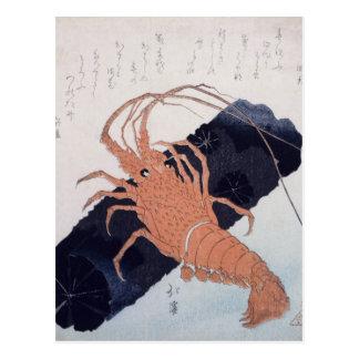 Langoustine avec un bloc du charbon de bois, carte postale