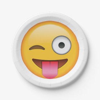 Langue avec cligner de l'oeil l'oeil - Emoji Assiettes En Papier