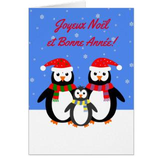 Langue française de pingouins de Joyeux Noël Bonne Carte De Vœux