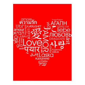 Langues de coeur d'amour carte postale