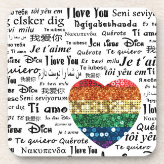 Langues étrangères d'amour dessous-de-verre