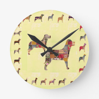 L'animal familier peint de cadeaux de CHIENS Horloge Ronde