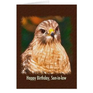 L'anniversaire, beau-fils, Rouge-a épaulé le fauco Cartes De Vœux