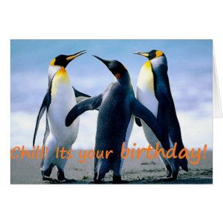 L'anniversaire brrrrilliant du pingouin carte de vœux