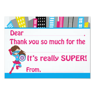 L'anniversaire de super héros de filles complètent carton d'invitation  11,43 cm x 15,87 cm