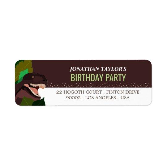 L'anniversaire des enfants de partie de dinosaure étiquette d'adresse retour