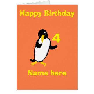 L'anniversaire drôle de pingouin, ajoutent l'avant carte de vœux