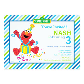 L'anniversaire du garçon d'Elmo Carton D'invitation 12,7 Cm X 17,78 Cm