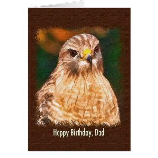 L'anniversaire, papa, Rouge-a épaulé le faucon Carte De Vœux
