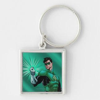 Lanterne et anneau verts porte-clé carré argenté
