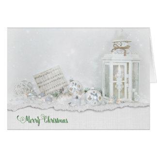 Lanterne et ornements de Noël dans la neige Carte De Vœux