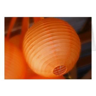 Lanterne orange carte de vœux