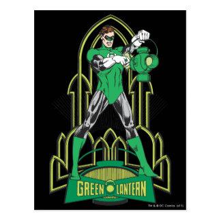 Lanterne verte avec des lettres carte postale
