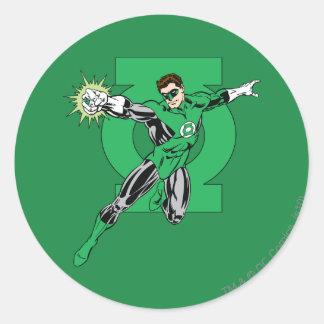 Lanterne verte avec l'arrière - plan de logo sticker rond