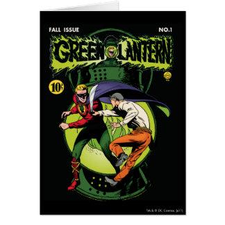 Lanterne verte avec le cap dans le combat carte de vœux