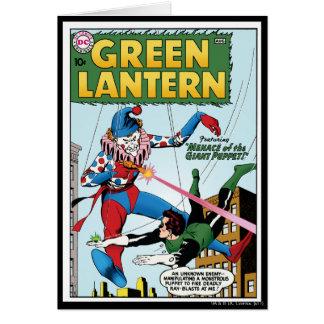 Lanterne verte contre le clown carte de vœux