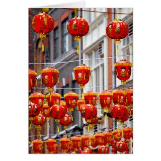 Lanternes dans Chinatown, carte de voeux de