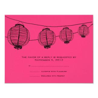 Lanternes noires et roses épousant RSVP Carton D'invitation 10,79 Cm X 13,97 Cm