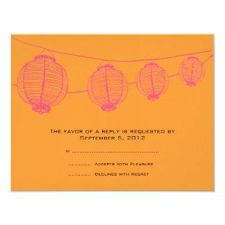 Lanternes roses et oranges épousant RSVP Carton D'invitation 10,79 Cm X 13,97 Cm