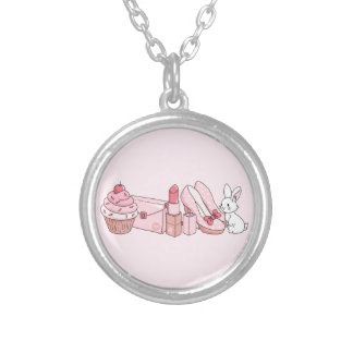 Lapin avec la substance rose pendentif rond