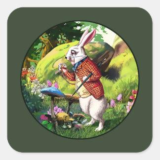 Lapin blanc |Alice dans des autocollants de Pâques