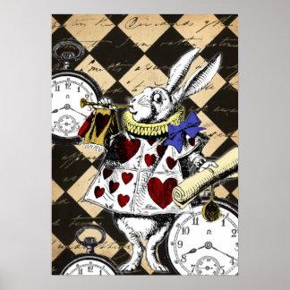 Lapin blanc Alice dans la copie d'affiche du pays  Affiches