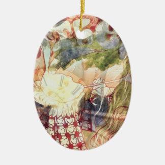 Lapin blanc -- Alice surréaliste au pays des Ornement Ovale En Céramique