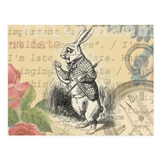 Lapin blanc d'Alice au pays des merveilles Carte Postale