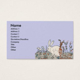 Lapin blanc vintage élégant cartes de visite