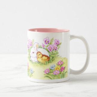 Lapin, caneton et fleurs de Pâques Mug