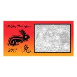 Lapin chinois de photocard de nouvelle année cartes avec photo