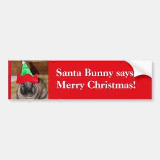 Lapin de Joyeux Noël avec le cadeau de chapeau de  Autocollant Pour Voiture