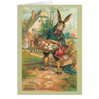 Lapin de Pâques avec des oeufs pour des enfants Cartes De Vœux