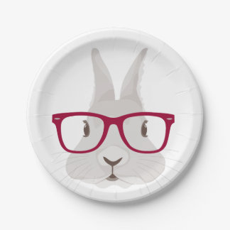 Lapin de Pâques drôle de hippie avec les verres Assiettes En Papier