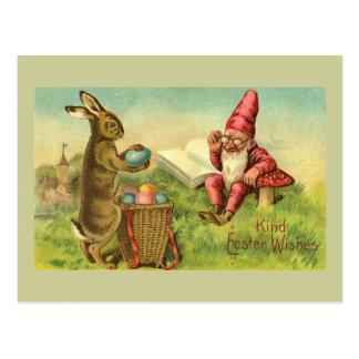 Lapin de Pâques et salutation vintage de gnome Carte Postale