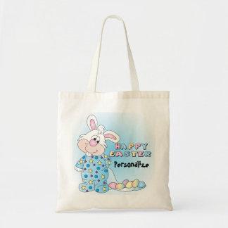Lapin de Pâques heureux avec des oeufs de pâques Tote Bag