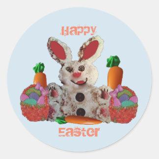 Lapin de Pâques heureux Sticker Rond