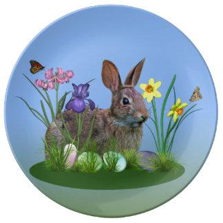 Lapin de Pâques, oeufs, et fleurs de ressort Assiettes En Porcelaine