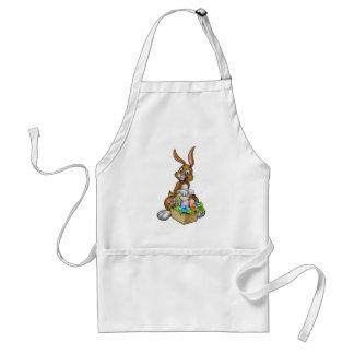 Lapin de Pâques tenant le panier de chasse à oeufs Tablier