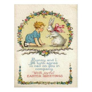 Lapin de Pâques vintage et carte de Pâques Carte Postale