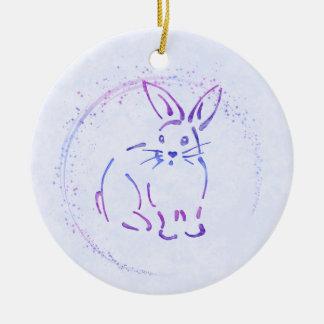 Lapin doux - ajoutez le texte au style d'aquarelle ornement rond en céramique
