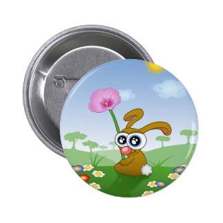 Lapin drôle se reposant dans l'herbe badge rond 5 cm