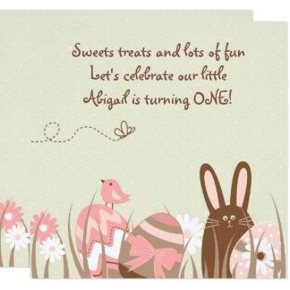 Lapin et filles d'invitation d'anniversaire carton d'invitation  13,33 cm