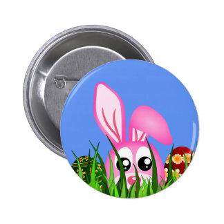 Lapin et oeufs de Pâques mignons dans l'insigne Badge