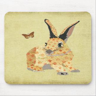 Lapin floral minable Mousepad Tapis De Souris
