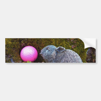 Lapin gris avec la boule de golf rose autocollant de voiture