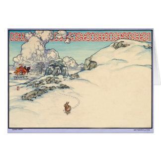 Lapin irlandais celtique d'hiver de carte de Noël